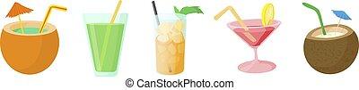 Cocktail icon set, cartoon style