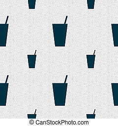 cocktail icon sign. Seamless pattern with geometric texture.