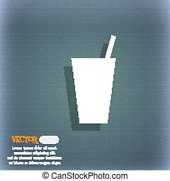 cocktail icon symbol on the blue-green abstract background with shadow and space for your text. Vector