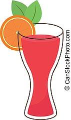 cocktail, illustrazione, bianco, arancia, vettore, fondo.