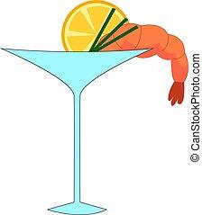 cocktail, illustrazione, limone, fondo., vettore, bianco