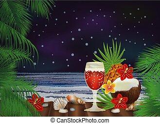 cocktail, illustrazione, tropicale, vettore, fondo, notte