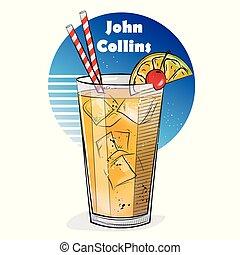 cocktail., ilustración, mano, dibujado, juan, collins.