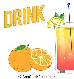 cocktail, immagine, bevanda, miscelare, vettore, fondo, arancia