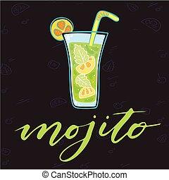 cocktail, immagine, vetro, mojito, vettore, fondo