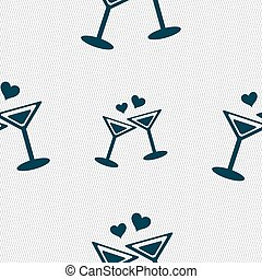 Cocktail in glass with hearts icon sign. Seamless pattern with geometric texture. Vector