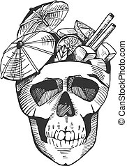 cocktail in human skull