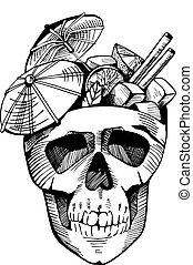 Cocktail in skull