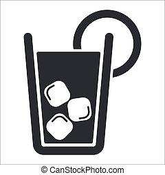 cocktail, isolé, illustration, unique, vecteur, icône