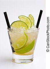 Cocktail - Isolated cocktail  with straw on white background