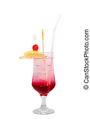 Cocktail isolated on white background. Picture proper for design of cocktail menu.