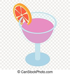 Cocktail isometric 3d icon on transparent background
