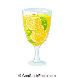 cocktail., jaune, arrière-plan., vecteur, illustration, blanc