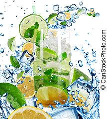 cocktail, liquide, irrigation, isolé, mojito, blanc