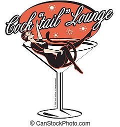 Cocktail Lounge Bar Martini Sign - Cocktail lounge bar...