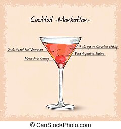 cocktail manhattan scetch garnished with a cherry and lemon ...