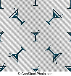 cocktail martini, Alcohol drink icon sign. Seamless pattern with geometric texture. Vector