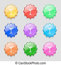 cocktail martini, Alcohol drink icon sign. symbol on nine wavy colourful buttons. Vector