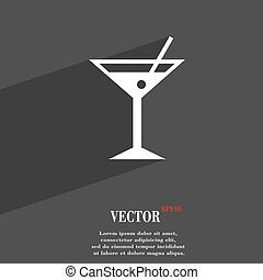cocktail martini, Alcohol drink symbol Flat modern web design with long shadow and space for your text. Vector