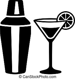 Cocktail martini glass with shaker