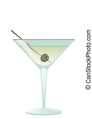 Cocktail Martini With Olive - Cocktail for a white...