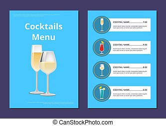 Cocktail Menu Advertisement Poster Champagne Glass