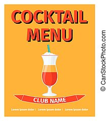 Cocktail menu retro style design
