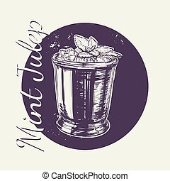 Cocktail Mint Julep for the Derby Hand Drawing Vector Illustration