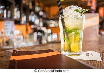 cocktail, mojito, menu, contatore, sbarra