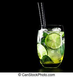 cocktail, mojito, zwarte achtergrond, munt, kalk