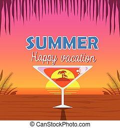 cocktail, na, wybrzeże, drzewo, urlop, martini, tropikalny, szkło, dłoń, tło, zachód słońca, wnętrze