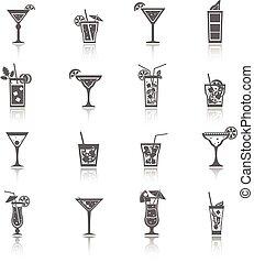cocktail, nero, alcool, icone