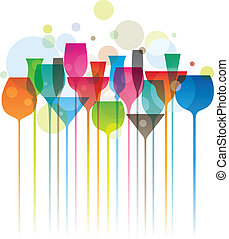 Composition of colorful cocktail glasses, party concept