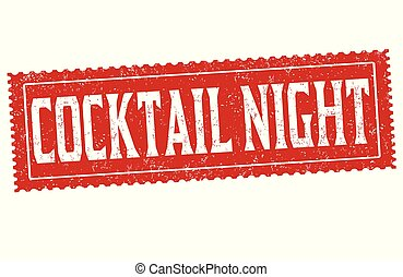 Cocktail night grunge rubber stamp