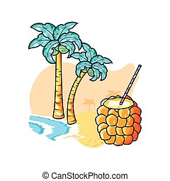 cocktail of pineapple in the beach