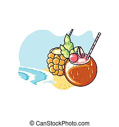 cocktail of pineapple in the beach with coconut