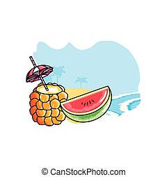 cocktail of pineapple with watermelon slice in the beach