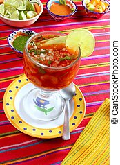 cocktail of shrimps mexican chili sauces lemon latin seafood...