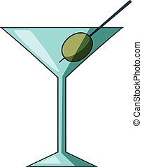 Cocktail olive icon, cartoon style