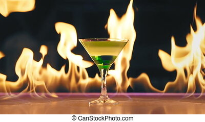Cocktail on fire on a bar.