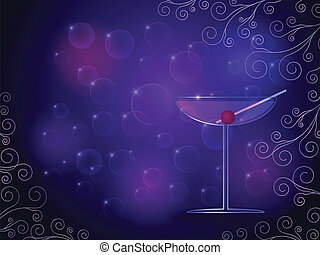 Cocktail on purple background
