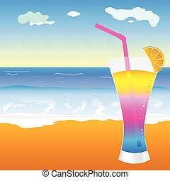 cocktail on the beach illustration