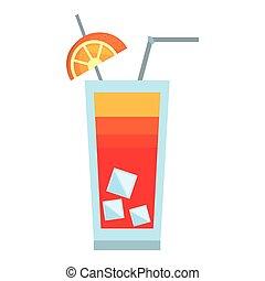 cocktail on the beach orange straw ice