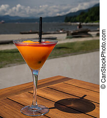 Cocktail on the beach, Peach Bellini - Glass of a tasty...