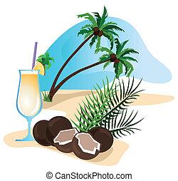 cocktail, orzech kokosowy