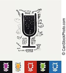 cocktail paper sticker with hand drawn elements