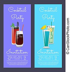 Cocktail Party Invitation Poster with Bloody Mary - Cocktail...