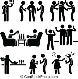 cocktail party, ludzie obsadzają, przyjaciel
