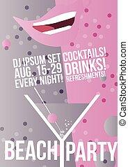 Cocktail Party Retro Poster Design