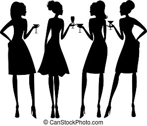 Illustration of four young elegant women at a cocktail party.
